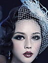 Tulle Crystal Feather Fabric Tiaras Birdcage Veils 1 Wedding Special Occasion Party / Evening Outdoor Headpiece