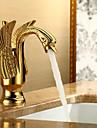 Décoration artistique/Rétro Set de centre Soupape céramique 1 trou Mitigeur un trou Ti-PVD , Robinet lavabo