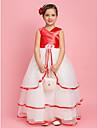 A-line podea lungime floare fata rochie - organza stretch satin fără mâneci v-gât cu floare de lan ting bride®