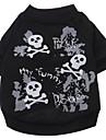 Câine Tricou Îmbrăcăminte Câini Cranii Negru Bumbac Costume Pentru animale de companie Bărbați Pentru femei Modă Halloween