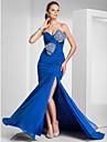 בתולת ים \ חצוצרה לב (סוויטהארט) שובל סוויפ \ בראש שיפון ערב רישמי שמלה עם חרוזים בד בהצלבה שסע קדמי על ידי TS Couture®