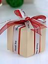 """pătrat cutie favoarea fildeș cu """"mulțumesc"""" panglică (set de 12)"""