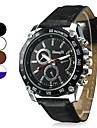 Heren Militair horloge Polshorloge Kwarts Gewatteerd PU-leer Zwart / Wit / Bruin Vrijetijdshorloge Analoog Amulet - Bruin Wit / Wit Wit / blauw