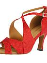 Femme Chaussures Latines / Salon Paillette Brillante Talon Boucle Talon Personnalisé Personnalisables Chaussures de danse Rouge / Doré