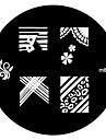 4ST Nail Art Stamp Stamping Avbildar mallen Plate M Series No.3
