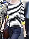Femei Stripes guler rotund Roll Up cătușele Hem asimetric T-shirt