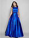 A-Line Ball Gown Bateau Neck Floor Length Satin Prom / Formal Evening / Military Ball Dress with Beading Draping Pocket by TS Couture®