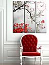 Stilul frunze ceas de perete moderne în pânză 3pcs