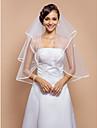 Voal de Nuntă Două Straturi Voaluri Lungi Până la Cot Margine panglică 31.5 in (80cm) Tul AlbA-line, Rochie de Bal, Prințesă, Foaie/