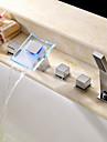 Badkarskran - Vattenfall Handdusch inkluderad LED Krom Romerskt badkar Två handtag Fem hål