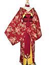 Kimono Mujer Ano Nuevo Mascarada Festival / Celebracion Algodon Rojo Traje carnaval Floral