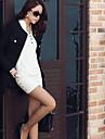 femei camasa buton de guler rochie mini, bumbac negru / alb de lucru / ocazional / bodycon