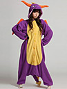 Kigurumi Pajamas Dragon Dinosaur Onesie Pajamas Coral fleece Purple Cosplay For Men and Women Animal Sleepwear Cartoon Halloween Festival / Holiday
