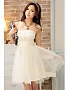Femei bretele zburli translucid Mini rochie fără mâneci