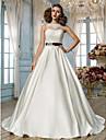 Linha A / Princesa Ilusao Decote Longo Renda / Cetim Vestidos de noiva personalizados com Micangas / Apliques / Faixa / Fita de LAN TING
