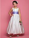 A-line Printesa glezna lungime floare fată rochie - satin gât pătrat fără mâneci de lan ting bride