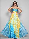 볼 드레스 끈없는 스타일 바닥 길이 쉬폰 드레스 와 비즈 / 스팽글 / 드레이핑 으로 TS Couture®