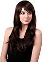 Capless synthétique de longue perruque de cheveux bruns ondulés Bang Side