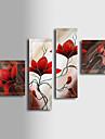 Pictat manual Floral/Botanic Patru Panouri Canava Hang-pictate pictură în ulei For Pagina de decorare