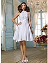 Linia -A / Prințesă Gât Înalt Lungime Genunchi Dantelă Made-To-Measure rochii de mireasa cu Funde / Drapat / Eșarfă / Panglică de LAN TING BRIDE® / Mica Rochie Albă
