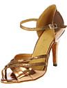 Femme Chaussures Latines / Salon Similicuir Talon Talon Personnalisé Personnalisables Chaussures de danse Bronze / Cuir