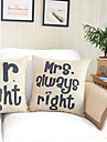 Set av 2 Mr.Right & Mrs.Always Höger Bomull / Lin dekorationskudde Cover