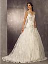 Linha A Assimetrico Cauda Escova Renda Cetim Vestidos de noiva personalizados com Micangas Apliques de LAN TING BRIDE®