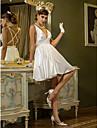A-라인 V 넥 숏 / 미니 스트래치 새틴 Made-To-Measure 웨딩 드레스 와 드레이핑 으로 LAN TING BRIDE® / 아름다운 뒤태