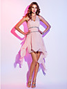 A-Line Halter Neck Asymmetrical Chiffon Cocktail Party / Homecoming Dress with Beading / Ruched by TS Couture® / High Low / See Through