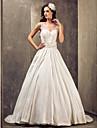 Rochii de Mireasă - Glam & Dramă/Elegant & Luxos - A-line/Prințesă - Decolteu în V - Trenă Sweep (Tafta/Dantelă)