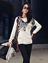 Femei gât Zebra Print maneca lunga Loose T-shirt