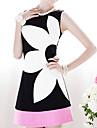 TS-Color Block Îmbinare Floral A-Line Dress