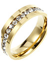 Titanium clasic cu stras aur unisex Inele