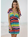 Femei Multi Color Stripe Classic profundă V Neck Beach Cover-up Mini Dress