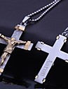 Personalizat de bijuterii cadou din oțel inoxidabil Isus Cruce formă de bijuterii gravate colier pandantiv cu lanț 60cm