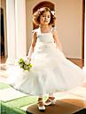 A-line printesa genunchi lungime floare fata rochie - organza mâneci fără spaghete curele cu beading de lan ting bride