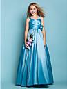 Linia -A Prințesă Lungime Podea Tafta Rochie Junion Domnișoare Onoare cu Flori Eșarfă / Panglică Cruce de LAN TING BRIDE®