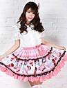 Kjolar Söt Lolita Prinsessa Cosplay Lolita-klänning Rosa Tryck Lolita Medium längd Kjol För Dam Polyester
