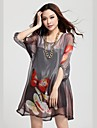 TS-Print Loose Fit Puff Sleeve Mini Dress (Random Prints)