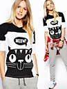 Femei Round Splice Collar Hit Color Cat imprimate T-Shirt