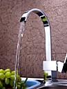 Contemporan Inalt / ridicat Arc Επικαθήμενη Cascadă with  Valvă Ceramică O gaură Singur mâner o gaura for  Crom , Robinet Bucătărie