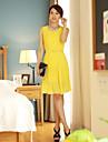 Femei New șifon Solid Elegant mâneci Pleat Dress
