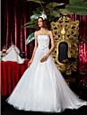 Linia -A / Prințesă Fără Bretele Trenă Court Tulle Made-To-Measure rochii de mireasa cu Aplică / Eșarfă / Panglică de LAN TING BRIDE®
