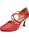 """Femme Modernes Satin Sandale Boucle Talon Aiguille Rouge Beige 3 """"- 3 3/4"""""""