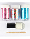 3PCS Laser Foil Nail Decorations Starry Stickers with Glue Stick(Random Color Stickers)