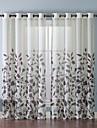 (En panel) eleganta blad mönster föring topp 84 tum gardin