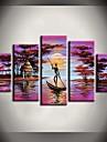 HANDMÅLAD Landskap vilken form som helst Duk Hang målad oljemålning Hem-dekoration Fem paneler