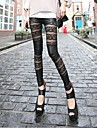 Women's Sexy Rose Lace PU leather Patchworks Black Leggings