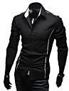 Personalitate Slim Casual Flanger maneca lunga tricou Duolunduo bărbați (Negru)