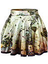 PinkQueen  Women's Spandex Map Printed Green Vintage  Pleated Skirt